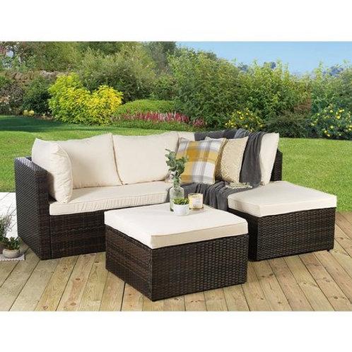 Rattan Corner Sofa Lounger Set Brown
