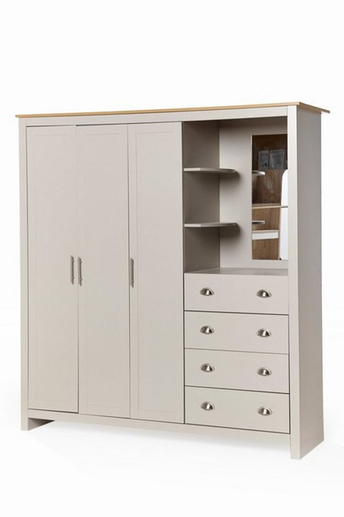 3 Door 4 Drawers Wardrobe Combi Storage Grey