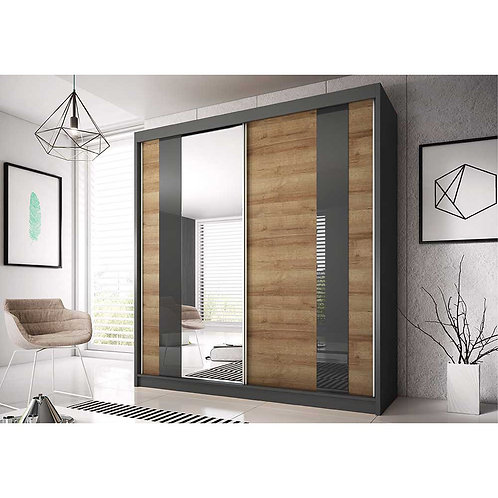 MALAGA II Wardrobe | Sliding Wardrobe 200cm in Dark Oak | Flat Packed Furniture