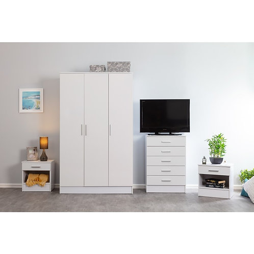 4 Piece Bedroom 3 Door Wardrobe Chest White