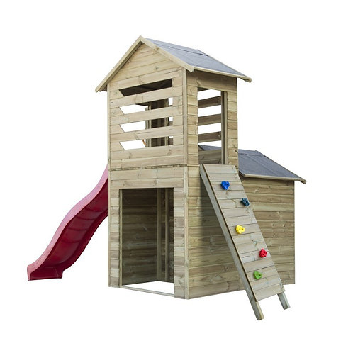 ROBERT Two-Story Wooden Playhouse | With Ladder & Slide | Flat Packed