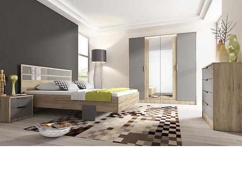 BILBAO Wardrobe | 4 Door Wardrobe 200cm in Light Oak | Flat Packed Furniture