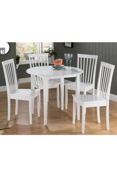 Dining Set 4 Chairs Round Table White