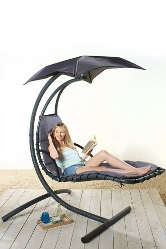 Garden Patio Helicopter Swing Chair Black