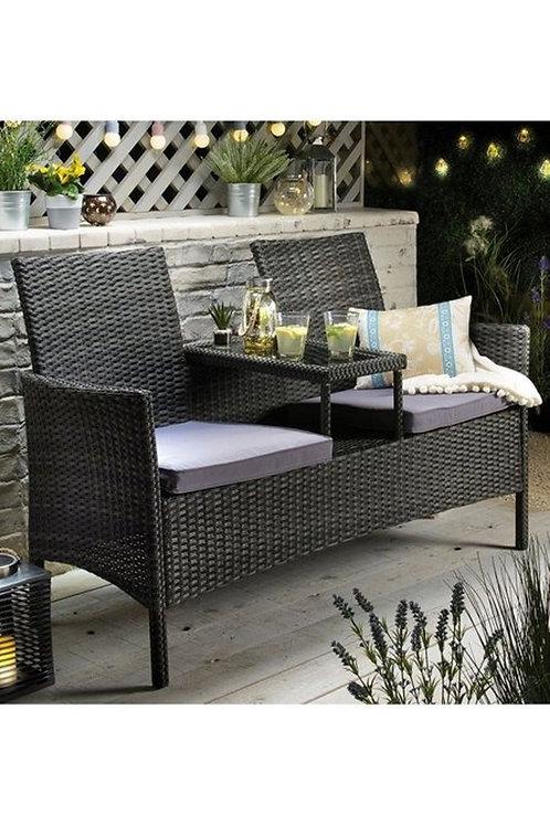 Rattan-Effect Garden Patio Bench 2 Seater
