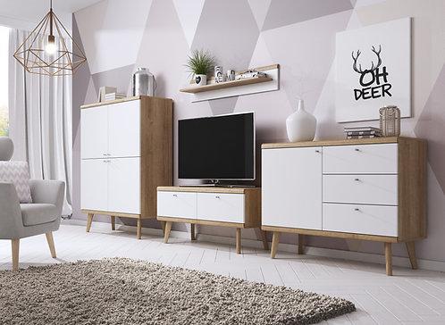 PRIMO Living Room Set | Riviera Oak/White | Flat Packed