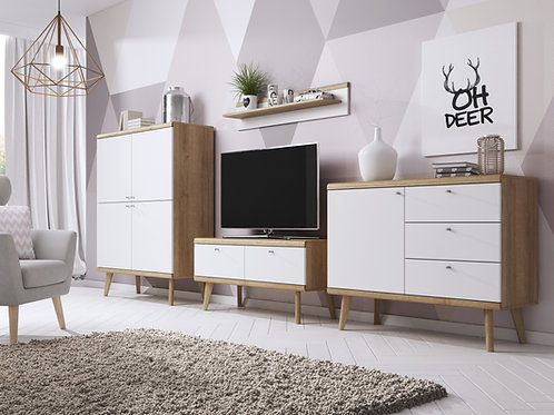 PRIMO Living Room Set | Riviera Oak/White | Flat Packed
