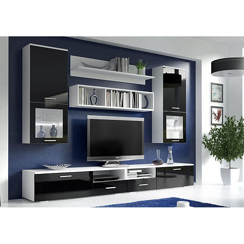 ASTON Living Room Wall Unit Set | High Gloss Black And White | Flat Packed