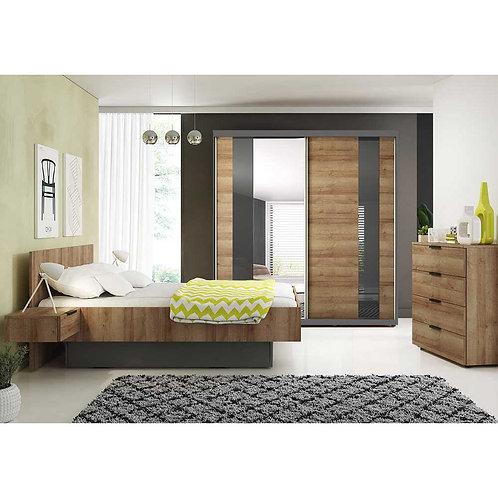 MALMO 2 Piece Bedroom Set Sliding Door Wardrobe 203 cm Oak Graphite 4 Draw Chest