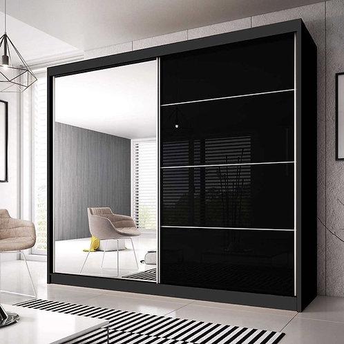 GRANADA Wardrobe | Sliding Wardrobe (3 sizes) in Black | Flat Packed Furniture