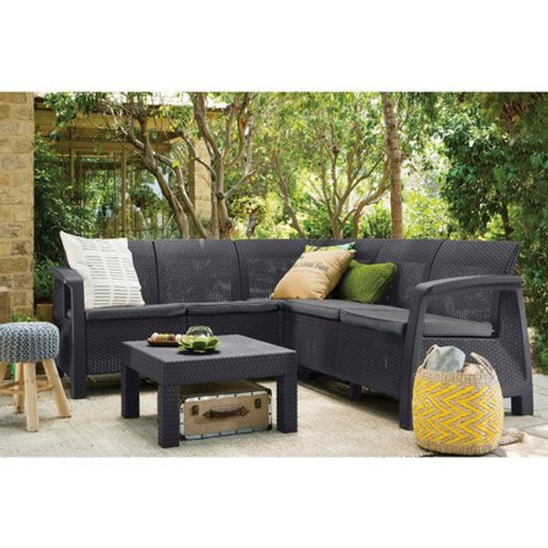 5 Seater Rattan Garden Patio Corner Sofa Set