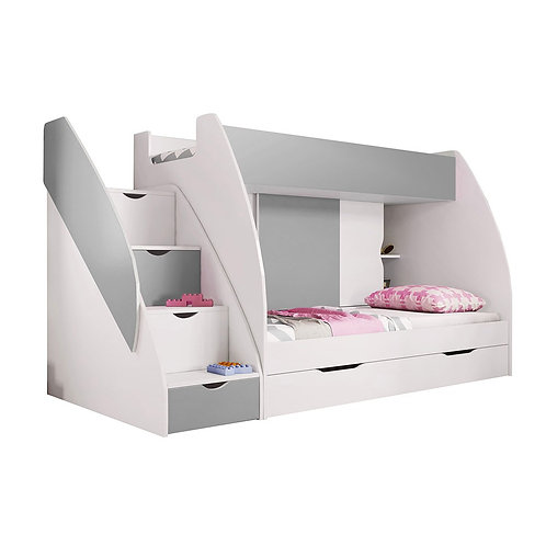 Grey Children Multi-Functional Bunk Bed | Storage Solution With 4 Drawers