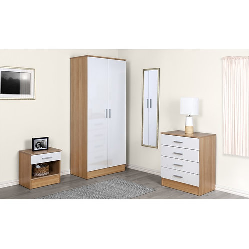 White Gloss Oak 3 Piece Bedroom Set 2 Door Wardrobe Bedside Chest Of Drawers
