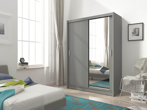SEVILLE Wardrobe | Sliding Wardrobe 150cm in Grey  Flat Packed Furniture