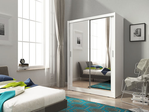 SEVILLE Wardrobe | Sliding Wardrobe 150cm in White | Flat Packed Furniture