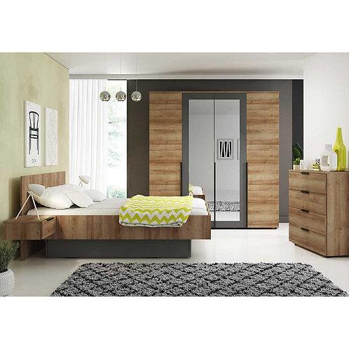 MALAGA Wardrobe | 4 Door Wardrobe 200cm in Dark Oak | Flat Packed Furniture