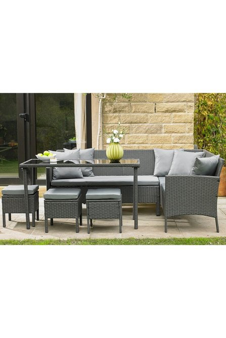 6 Seater Rattan Corner Sofa Garden Dining Set