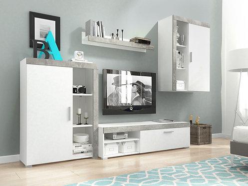 OLI Wall Unit Set | White/Concrete Grey | Flat Packed