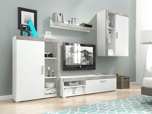 OLI Wall Unit Set | White/Concrete Grey | Flat Packed