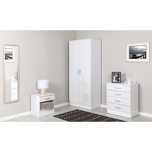White Gloss 3 Piece Bedroom Set 2 Door Wardrobe Bedside Chest Of Drawers