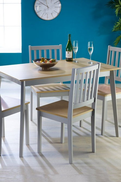5 Piece Grey Oak Dining Set Table 4 Chairs