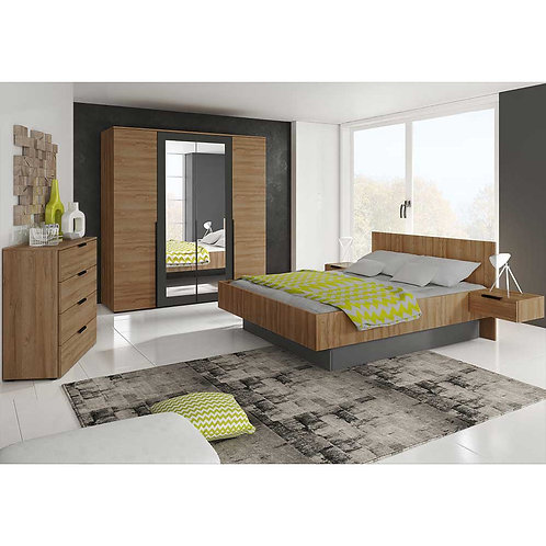 MALMO 2 Piece Bedroom Set 4 Door Wardrobe Riviera Oak Graphite 4 Drawer Chest