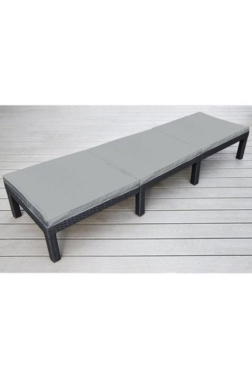 Garden Rattan Sun Lounger Outdoor Sun Bed with Grey Cushion