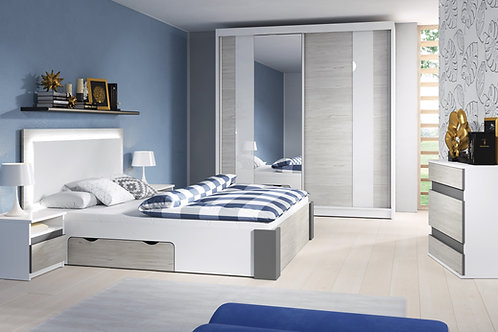 Helios Bedroom Set Freestanding Sliding Door Wardrobe - White/Grey