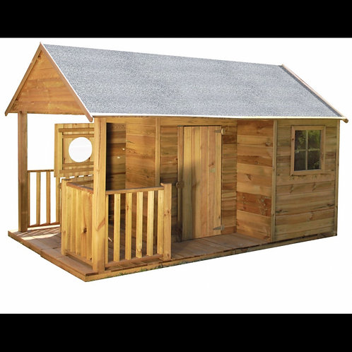 SIMON Wooden Playhouse | With Two Doors, Windows & Outdoor Area | Flat Packed