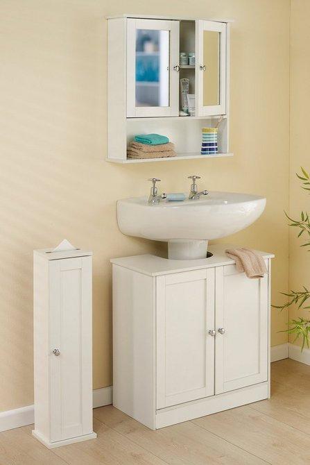 3 Piece Bathroom Set | 2 Door Mirror Cabinet Under Sink Storage | Flat Packed