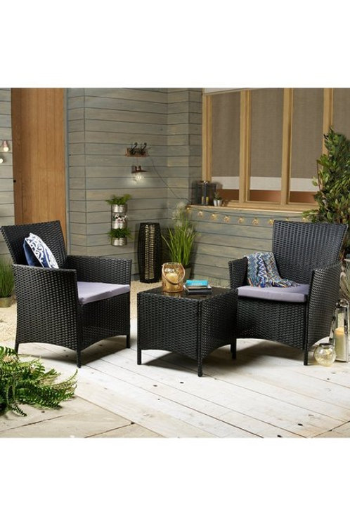 Bistro Rattan 3 Piece Set Table 2 Chairs Black Grey