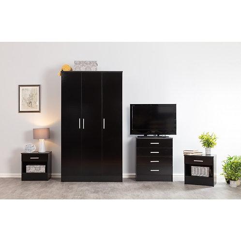 4 Piece Bedroom 3 Door Wardrobe Chest Black