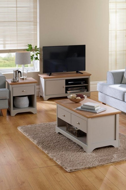 Tv Unit Coffee Table Side Lamp Table Grey