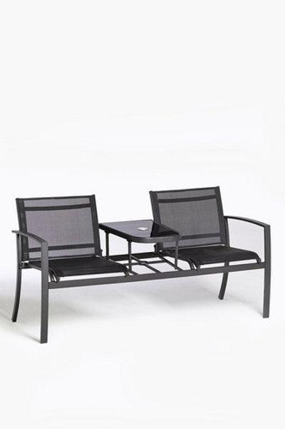 Glendale Textilene 2 Seater Love Seat Bench Patio Garden Outdoor Black