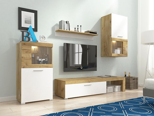 FOLK Wall Unit Set | Craft Oak/White | Flat Packed