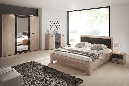 Sanremo Bedroom Set Wood/Black Gloss Finish