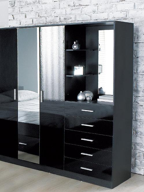 High Gloss Mirrored Wardrobe Combi Unit Black