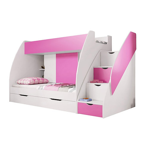 Pink Childrens Multi-Functional Bunk Bed | Storage Solution with 4 Drawers
