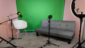 Set up with our green screen for a livestream interview.