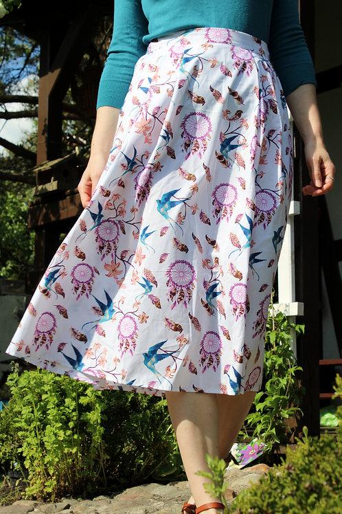 Spódnica bawełniana midi Tytka: Sen o jaskółkach