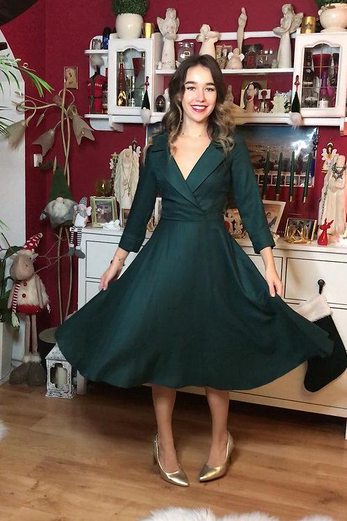 Sukienka Galanta Midi: Szmaragdowa Wiskoza