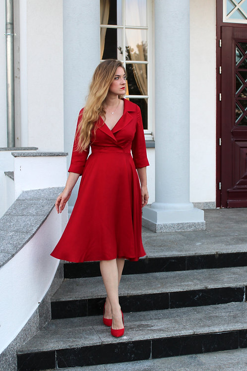 Sukienka Galanta Midi: Szkarłatna Wiskoza