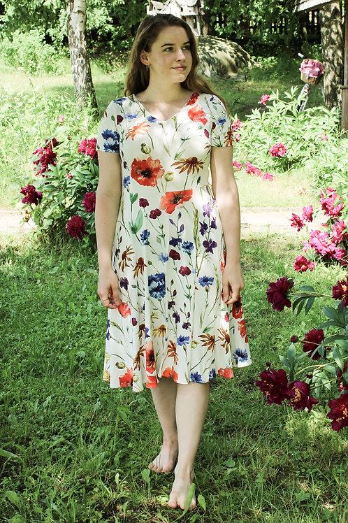 Sukienka Migawka Midi: wzór Ojczyste Kwiaty