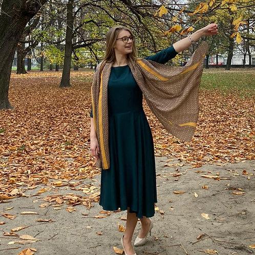 Sukienka midi Łódka: Szmaragdowa Wiskoza