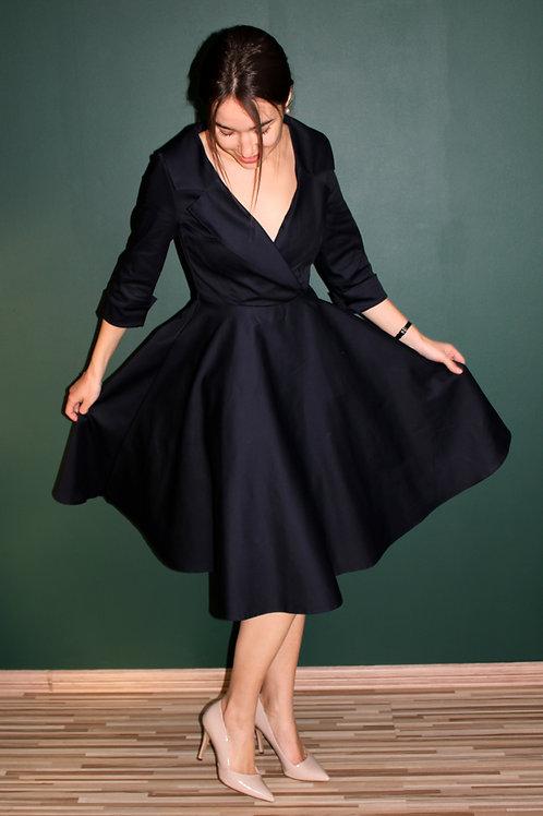 Sukienka Galanta Midi: Marynarski Granat