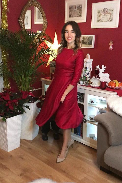 Sukienka midi Łódka: Szkarłatna Wiskoza