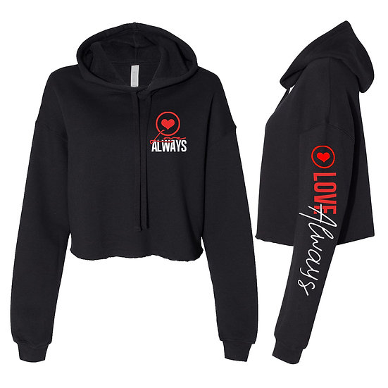 LOVE ALWAYS CROP HOODIE