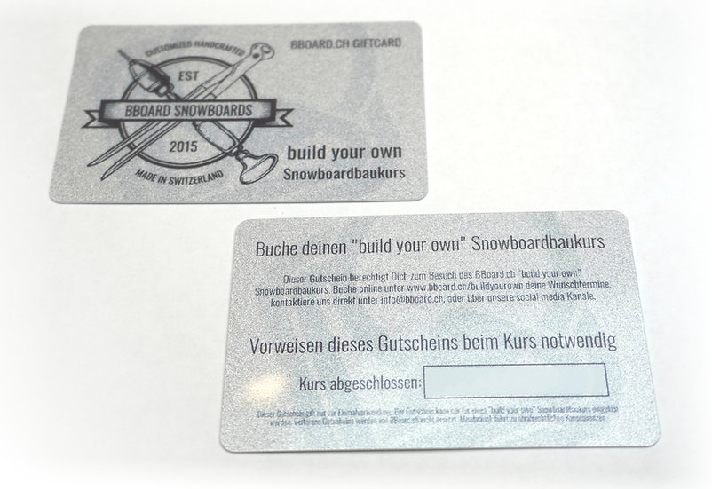 "Voucher BBoard ""build your own"" Snowboard building lesson"