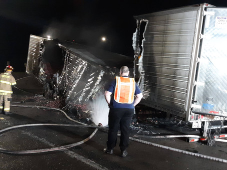Semi Trailer Fire Shuts Down I-5 Off-ramp