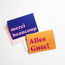 image of Merci Beaucoup and Alles Gute greeting cards
